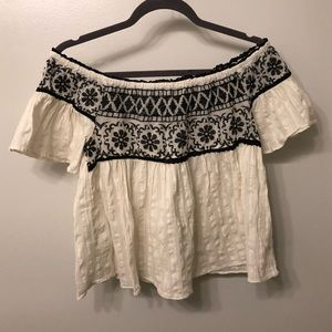 American Eagle White Off the Shoulder Lace Top
